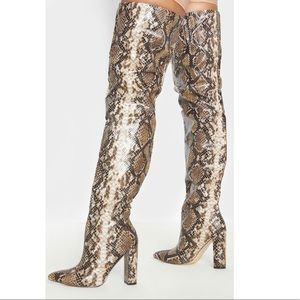 Thigh High Snake Print Point Block Heels